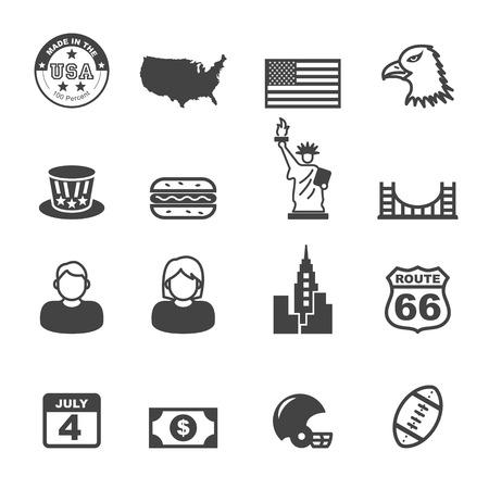 america icons, mono vector symbols Ilustração