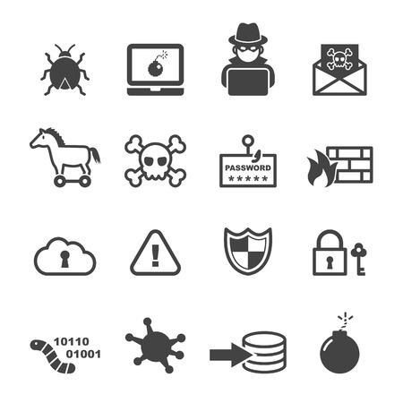 hacking: cyber crime icons, mono vector symbols Illustration