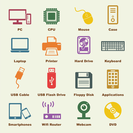 lcd monitor printer: computer and device elements, vector infographic icons