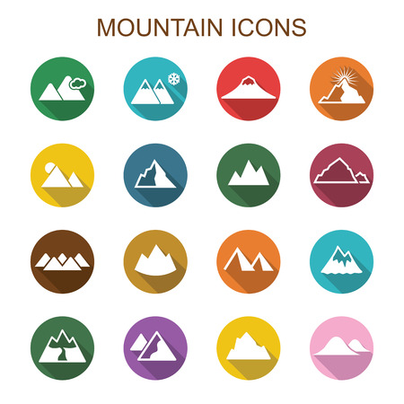 mountain long shadow icons, flat vector symbols