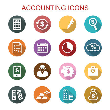 accounting long shadow icons, flat vector symbols 일러스트