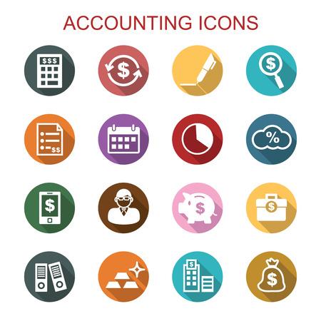 contabilità lunga ombra icone, simboli vettoriali piatte