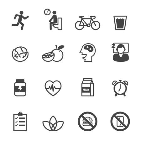 Iconos de bienestar, símbolos mono vector Foto de archivo - 42103185