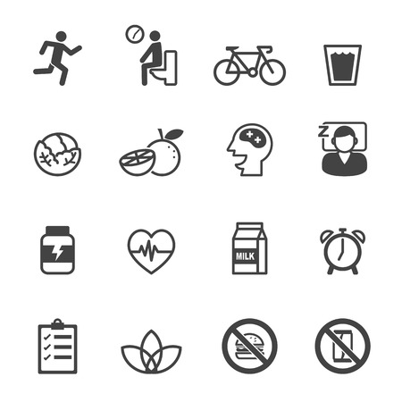 health and fitness: wellness icons, mono vector symbols Illustration