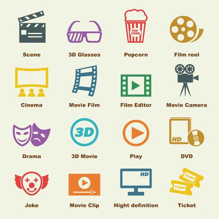 Lments des films, des icônes vecteur de infographiques Banque d'images - 42103189