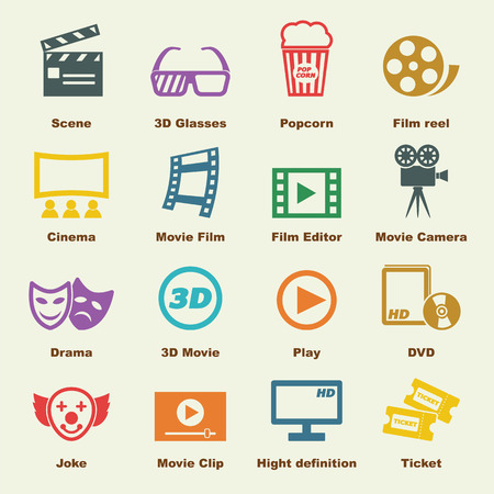 video reel: movie elements, vector infographic icons