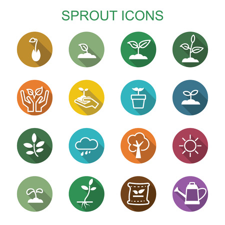 seed pots: sprout long shadow icons, flat vector symbols