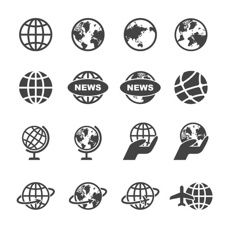 logistics world: globe icons, mono vector symbols Illustration