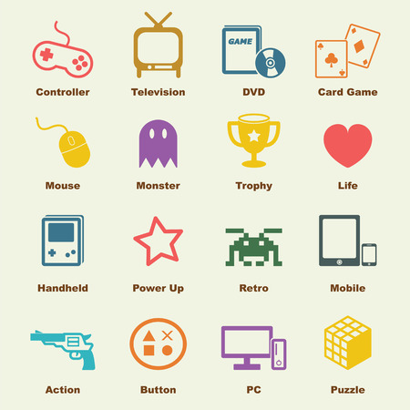 mouse pad: game elements, vector infographic icons Illustration