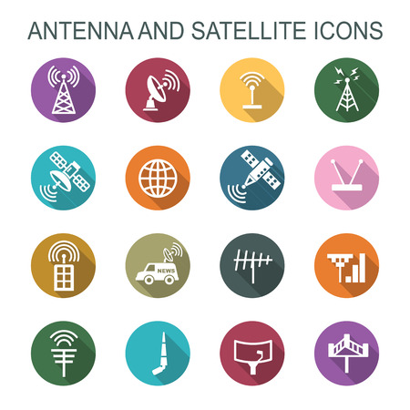 wireless communication: antenna and satellite long shadow icons, flat vector symbols