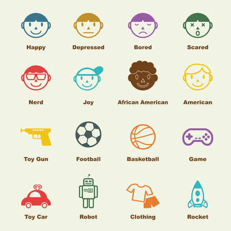 kid smile: boy elements, vector infographic icons