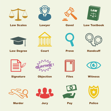scales of justice: law elements, vector infographic icons