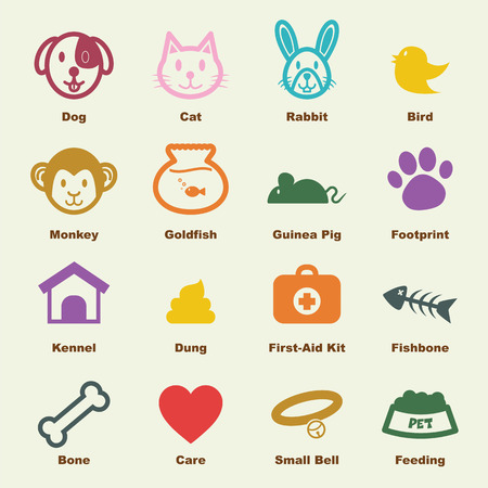 dog poop: pet elements, vector infographic icons Illustration