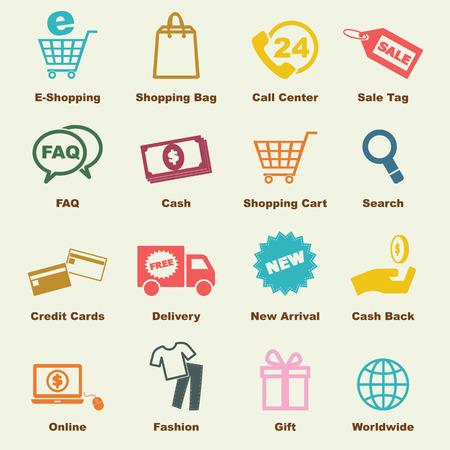 쇼핑 요소, 벡터 인포 그래픽 아이콘