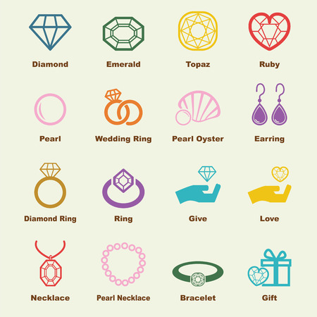 jewelry design: jewelry elements, vector infographic icons