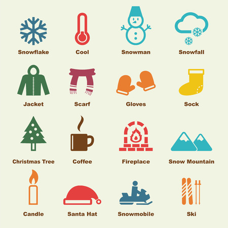 winter elements, vector infographic icons Illustration