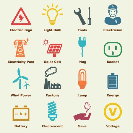 electricidad industrial: elementos de electricidad, iconos vectoriales infográficas