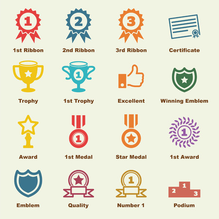 award elements, vector infographic icons Çizim