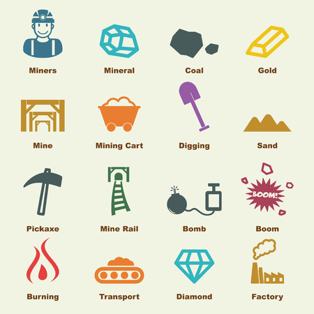 mining equipment: mining elements, vector infographic icons
