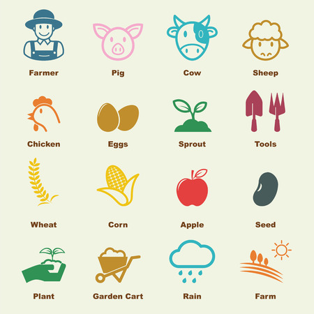 agricultura: elementos de la agricultura, los iconos del vector infográficas