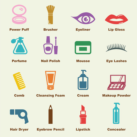cosmetic elements, vector infographic icons