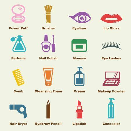 cosmeticos: elementos cosméticos, iconos vectoriales infográficas Vectores