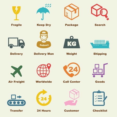 szállítás: logisztikai elemekkel, vektor infographic ikonok