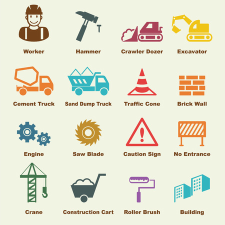 under construction sign with man: construction elements, vector infographic icons Illustration
