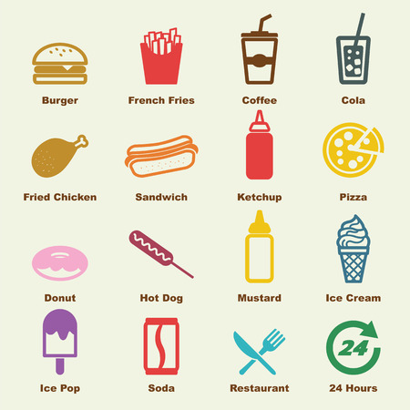 fast food elements, vector infographic icons