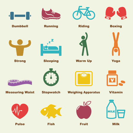 salud y deporte: healthy elements, infographic icons