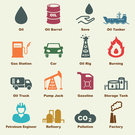 production of energy: petroleum elements, vector infographic icons