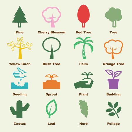 fertilizer: tree elements, vector infographic icons