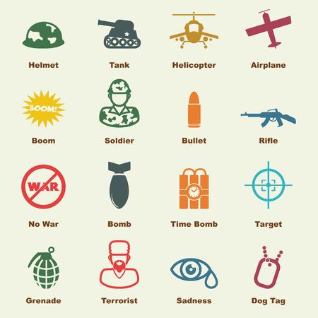 wojenne: elementy wojenne, ikony Wektor infographic