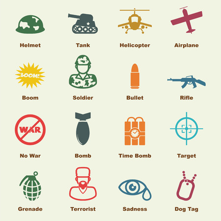 gun dog: war elements, vector infographic icons