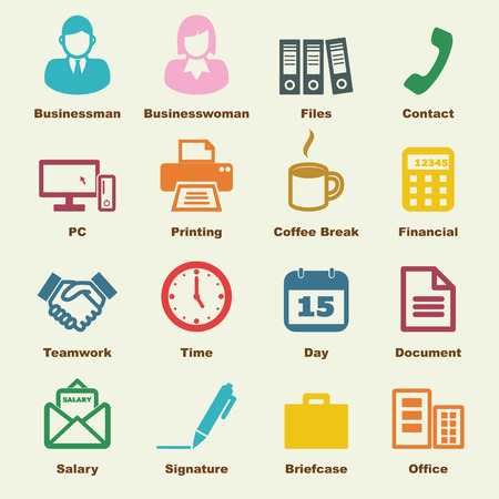 office manager: office elements, vector infographic icons