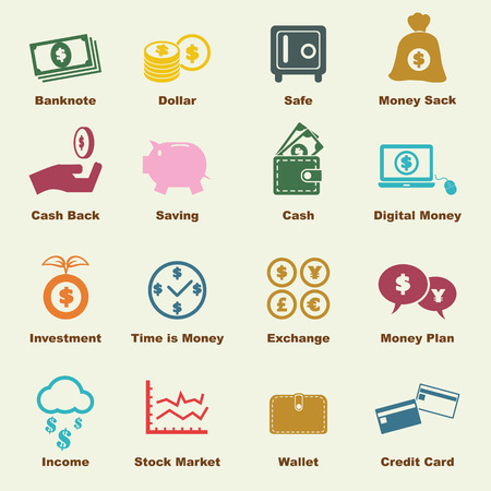 stock illustrations: money elements, vector infographic icons Illustration