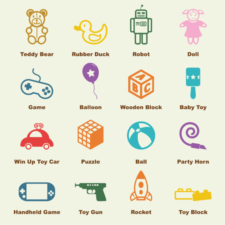 game gun: toy elements, vector infographic icons