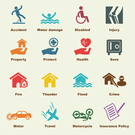 insurance elements, vector infigraphic icons Vettoriali