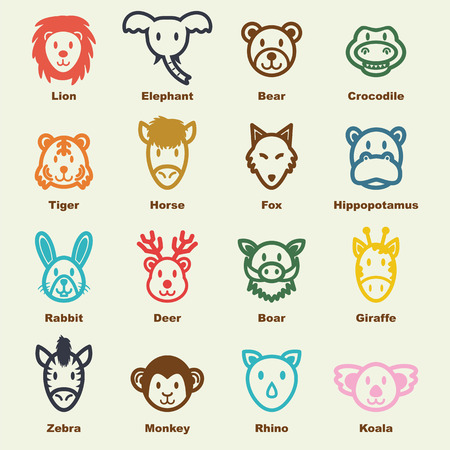 animal fauna: wild animal elements, vector infographic icons