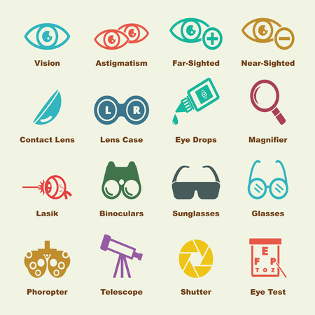 contact icon set: optical elements, vector infographic icons Illustration