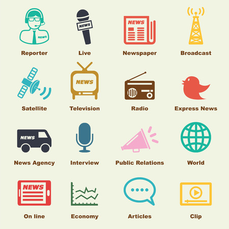news van: news elements, vector infographic icons Illustration