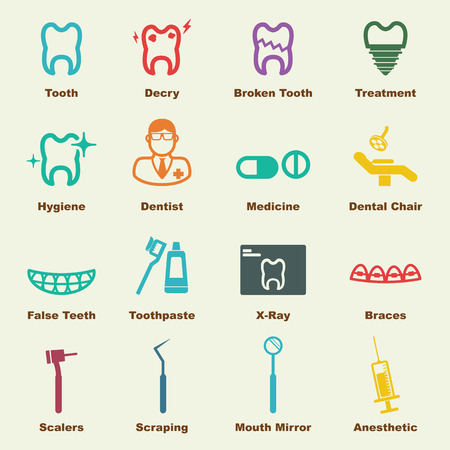chipped: dental elements, vector infographic icons