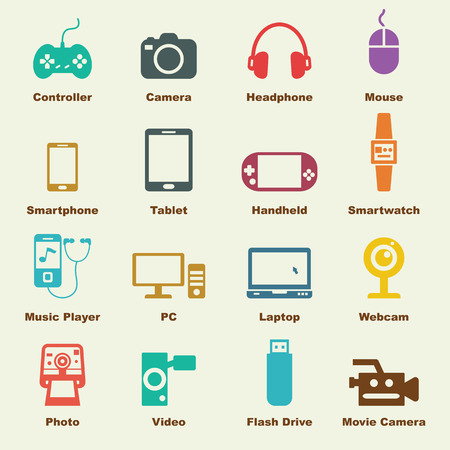 geek: gadget elements, vector infographic icons Illustration