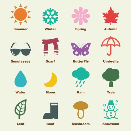 estacion: elementos de la temporada, los iconos del vector infográficas