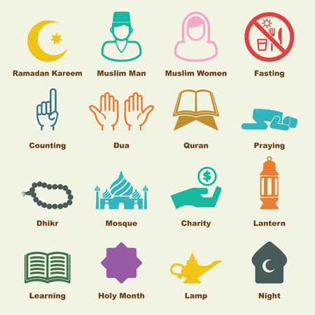 prayer hands: ramadan elements, vector infographic icons
