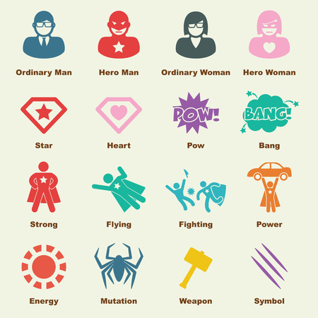 Super: superhero elements, vector infographic icons