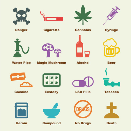 heroin: drug elements, vector infographic icons