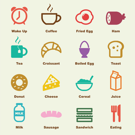 breakfast elements, vector infographic icons Vectores