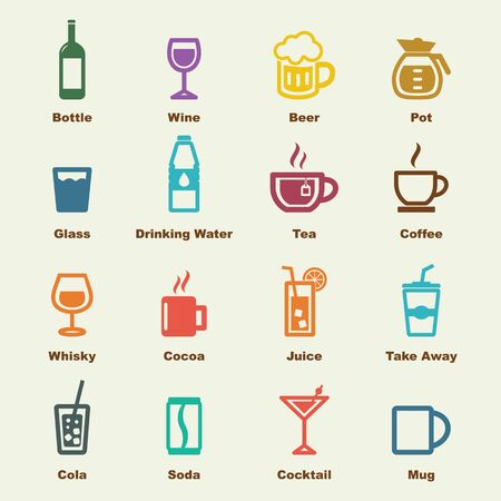 beverage elements, vector infographic icons