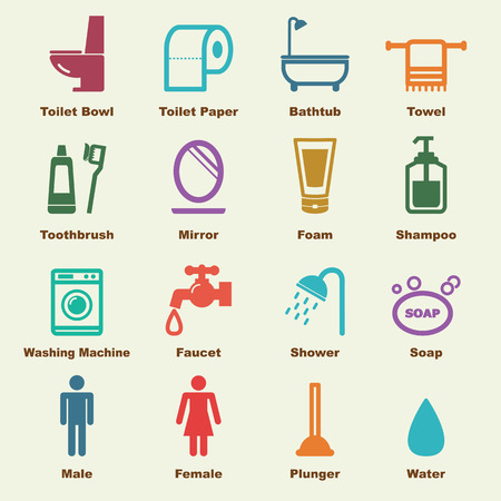 bathroom elements, vector infographic icons Stock Illustratie